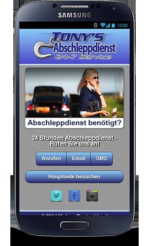 Mobile Webseite für Abschleppdienste