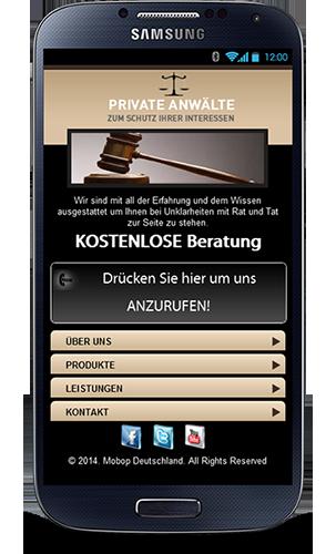 Mobile Webseite für Anwälte