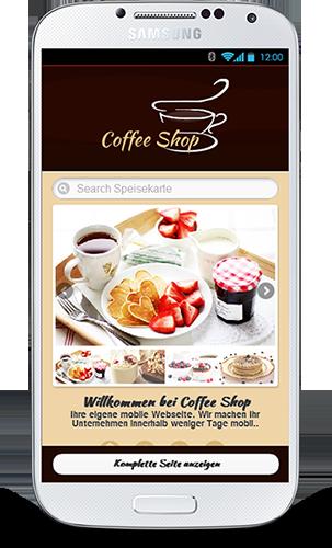 MObile Webseite für Kaffeeshops - Mobop