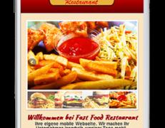 Mobile Webseite für Fast Food Restaurants