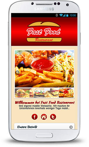 Mobile Webseite für Fast Food Restaurants