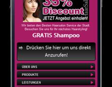 Mobile Webseite für Haarstudios. Friseure und co.