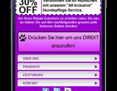 Komplette mobile Webseite für Hundepflege Services