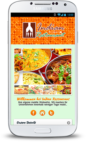 Mobop Indisches Restaurant mobile Webseite