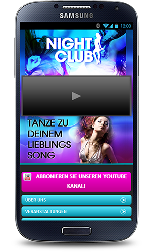 Mobop Nachtclub mobile Webseite