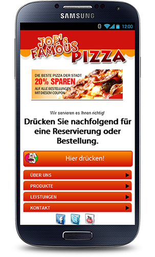 Mobop Pizzeria mobile Webseite