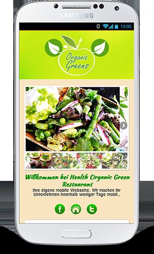 Mobop Vegetarisches Restaurant mobile Webseite