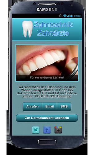 Mobop Zahnarztpraxis mobile Webseite