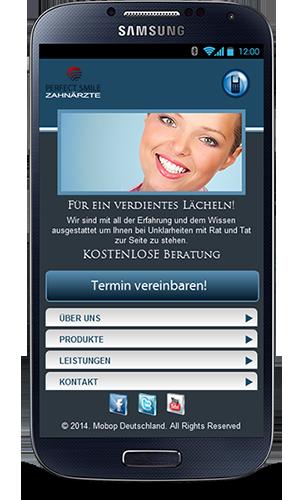 Mobop Zahnarzt mobile Webseite